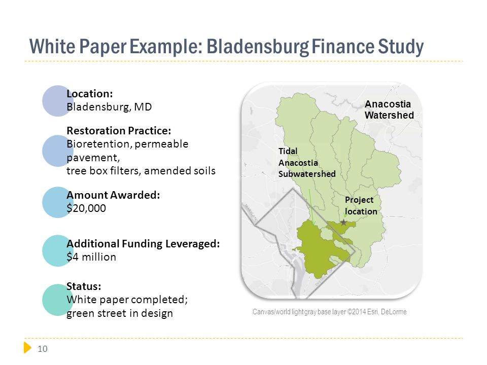 White Paper Example: Bladensburg Finance Study Location: Bladensburg, MD Restoration Practice: Bioretention, permeable pavement, tree box filters, amended soils Amount Awarded: $20,000 Additional Funding Leveraged: $4 million Status: White paper completed; green street in design Project location Anacostia Watershed Tidal Anacostia Subwatershed Canvas/world light gray base layer ©2014 Esri, DeLorme 10