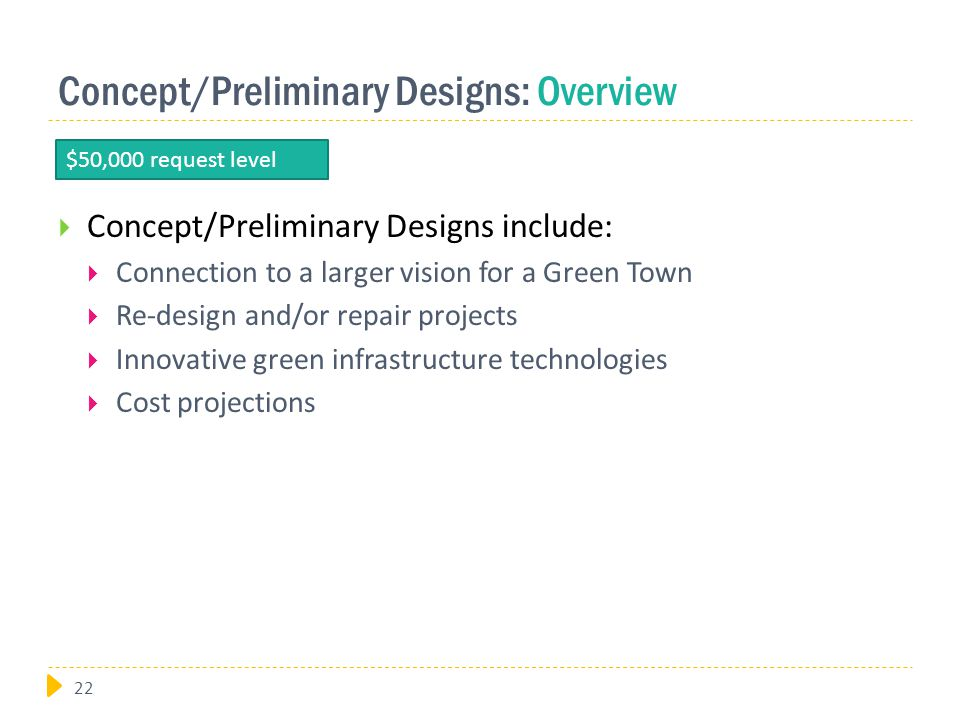 Concept/Preliminary Designs: Overview  Concept/Preliminary Designs include:  Connection to a larger vision for a Green Town  Re-design and/or repair projects  Innovative green infrastructure technologies  Cost projections $50,000 request level 22