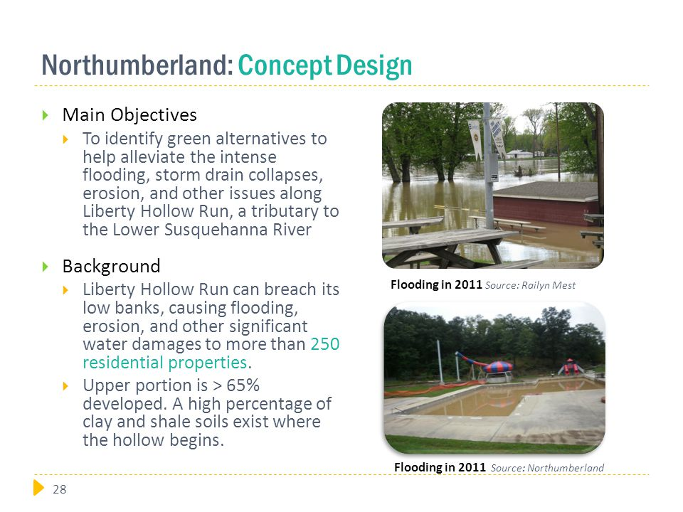 Northumberland: Concept Design  Main Objectives  To identify green alternatives to help alleviate the intense flooding, storm drain collapses, erosion, and other issues along Liberty Hollow Run, a tributary to the Lower Susquehanna River  Background  Liberty Hollow Run can breach its low banks, causing flooding, erosion, and other significant water damages to more than 250 residential properties.