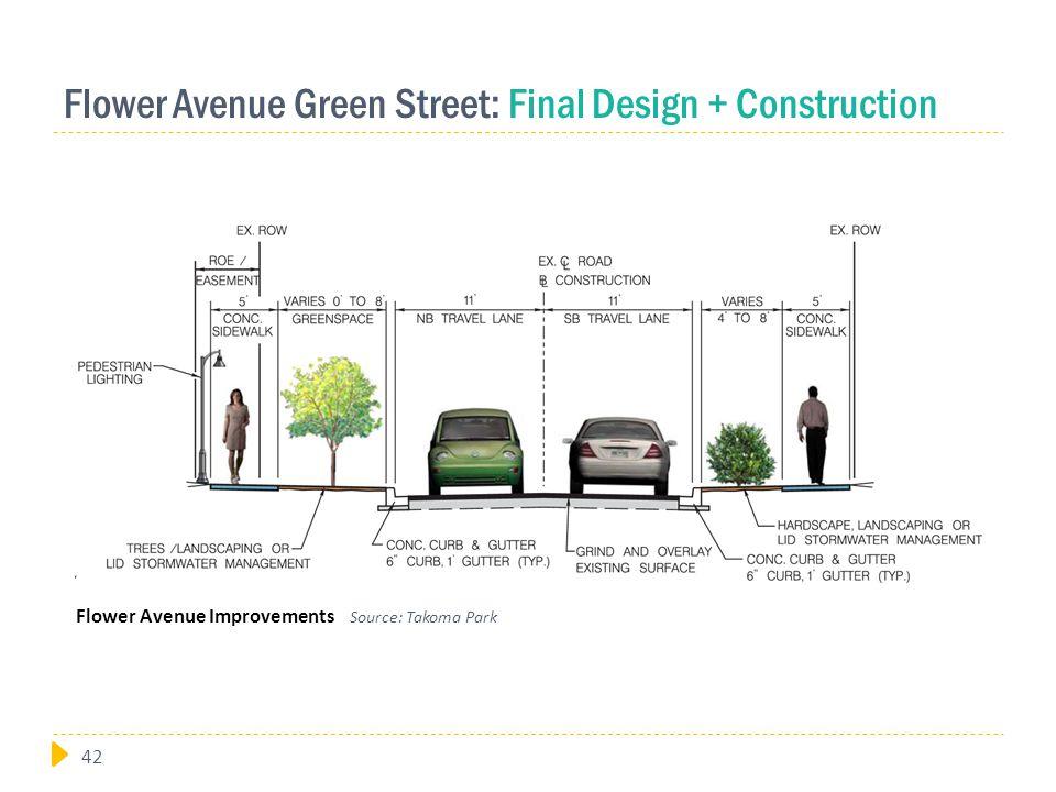 Flower Avenue Green Street: Final Design + Construction Flower Avenue Improvements Source: Takoma Park 42