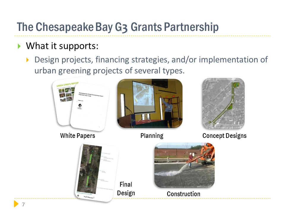 The Chesapeake Bay G 3 Grants Partnership  What it supports:  Design projects, financing strategies, and/or implementation of urban greening projects of several types.