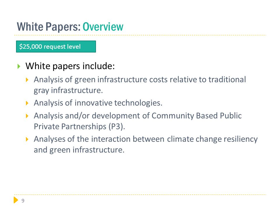 White Papers: Overview  White papers include:  Analysis of green infrastructure costs relative to traditional gray infrastructure.