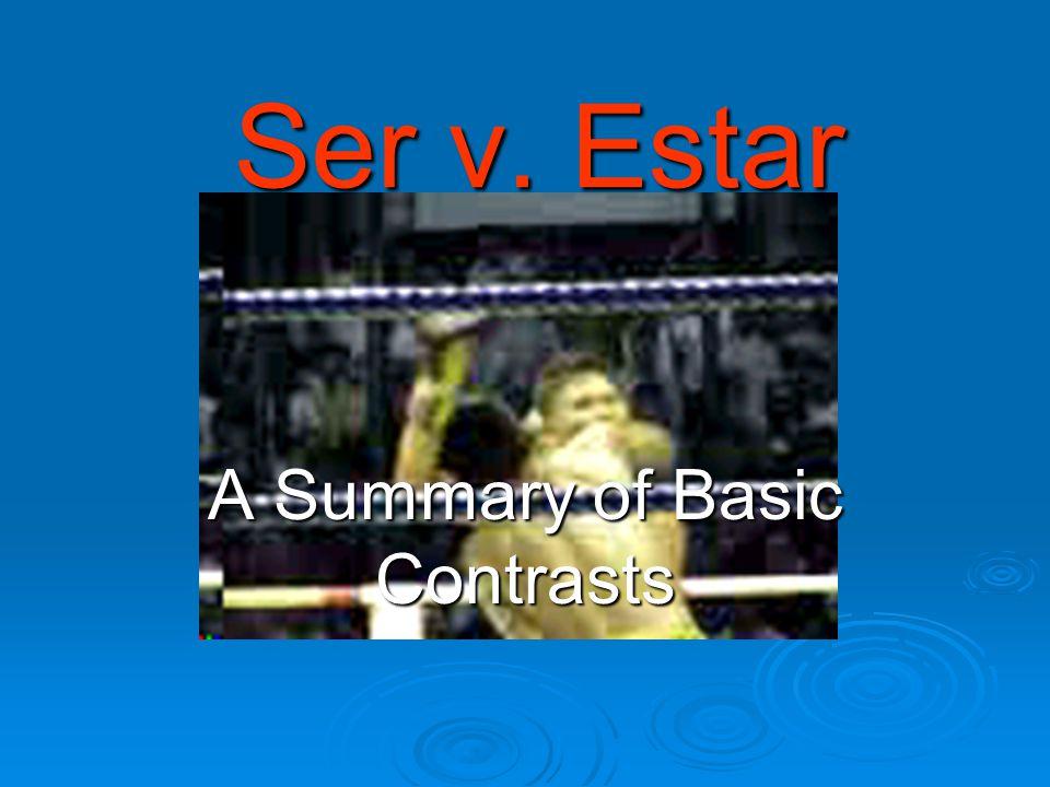 Ser v. Estar A Summary of Basic Contrasts