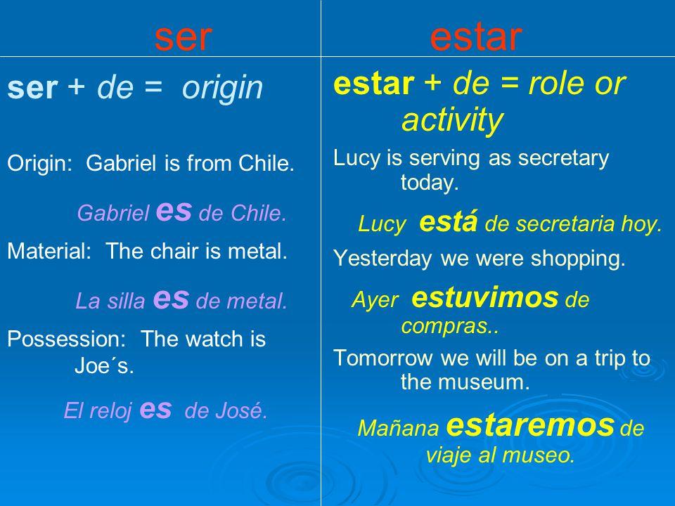 ser + de = origin Origin: Gabriel is from Chile. Gabriel es de Chile.