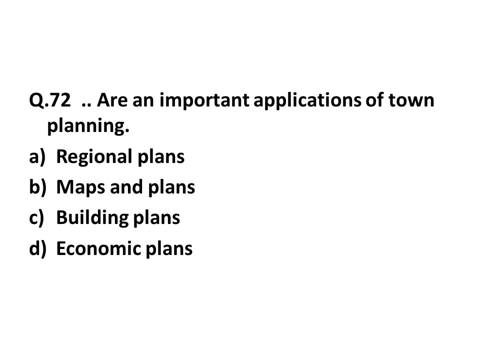 Q.72..Are an important applications of town planning.