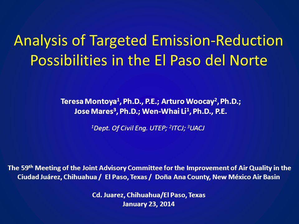 Analysis of Targeted Emission-Reduction Possibilities in the El Paso del Norte Teresa Montoya 1, Ph.D., P.E.; Arturo Woocay 2, Ph.D.; Jose Mares 3, Ph.D.; Wen-Whai Li 1, Ph.D., P.E.