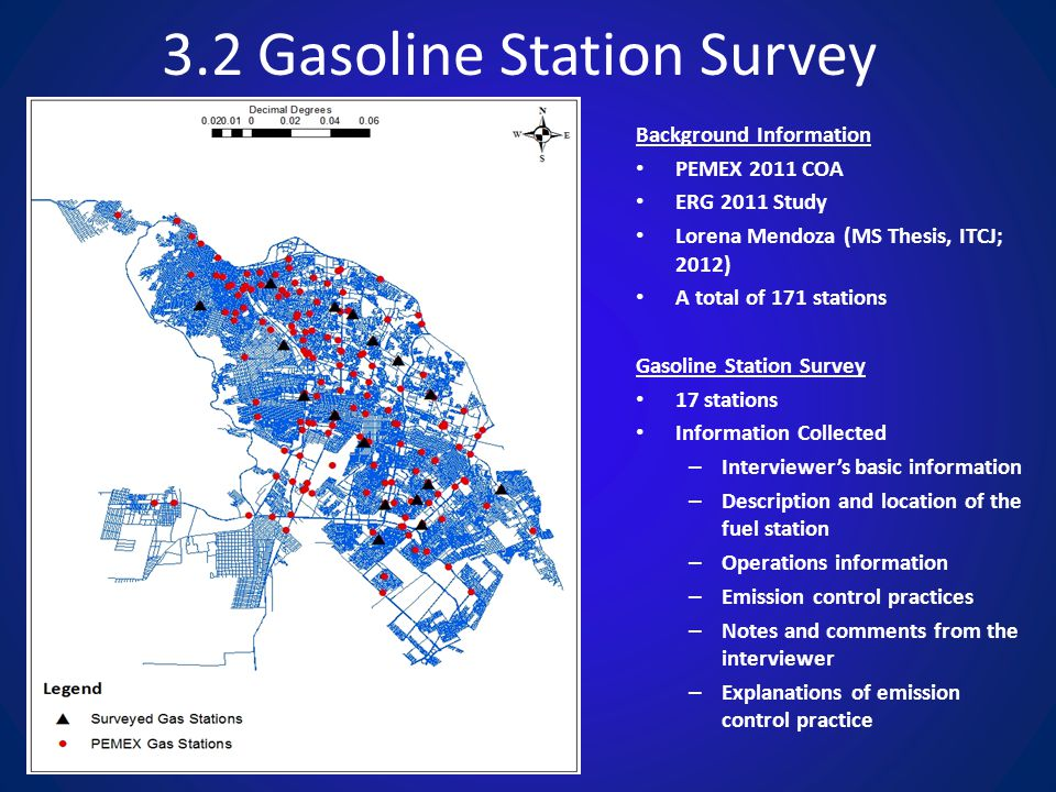 3.2 Gasoline Station Survey Background Information PEMEX 2011 COA ERG 2011 Study Lorena Mendoza (MS Thesis, ITCJ; 2012) A total of 171 stations Gasoline Station Survey 17 stations Information Collected – Interviewer's basic information – Description and location of the fuel station – Operations information – Emission control practices – Notes and comments from the interviewer – Explanations of emission control practice