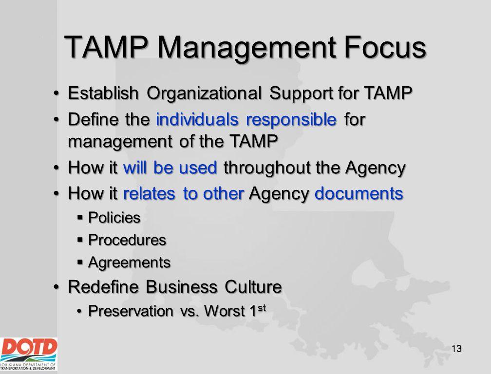 TAMP Management Focus 13 Establish Organizational Support for TAMPEstablish Organizational Support for TAMP Define the individuals responsible for man