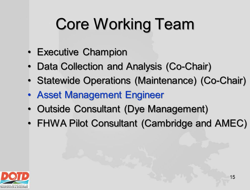 Core Working Team Executive ChampionExecutive Champion Data Collection and Analysis (Co-Chair)Data Collection and Analysis (Co-Chair) Statewide Operat