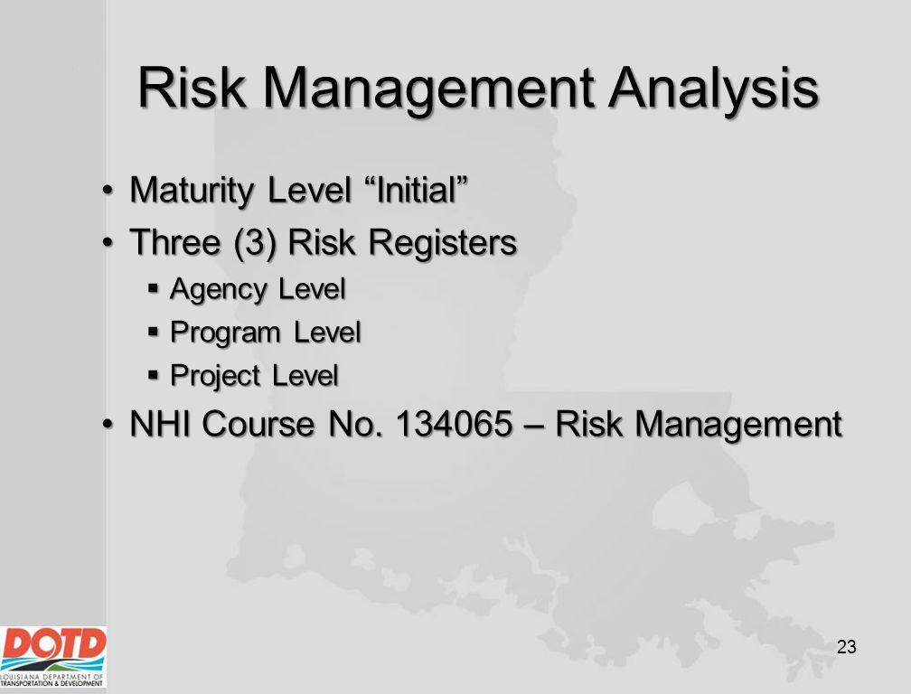 "Risk Management Analysis Maturity Level ""Initial""Maturity Level ""Initial"" Three (3) Risk RegistersThree (3) Risk Registers  Agency Level  Program Le"