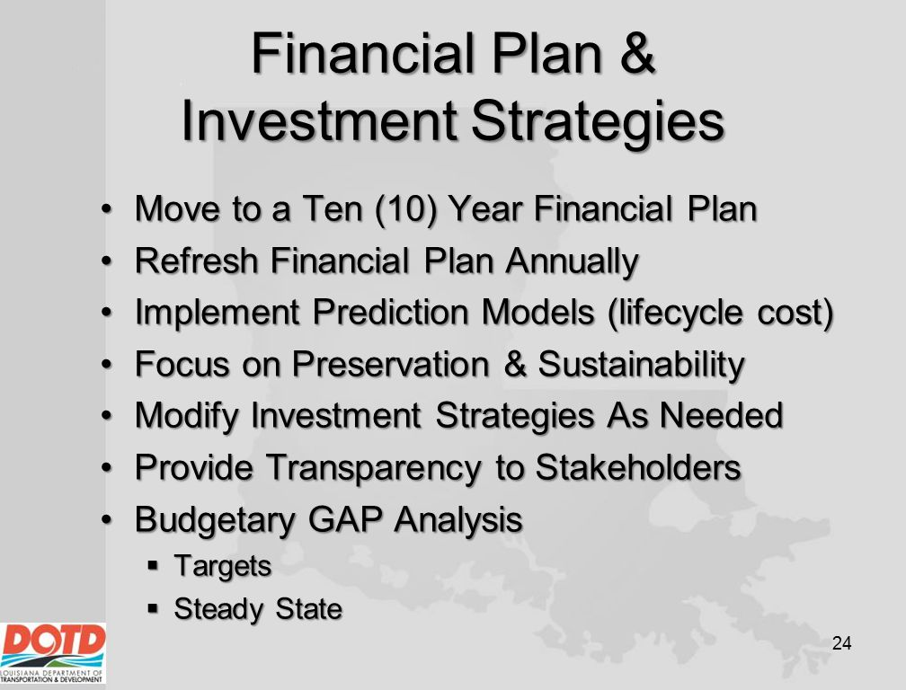 Financial Plan & Investment Strategies Move to a Ten (10) Year Financial PlanMove to a Ten (10) Year Financial Plan Refresh Financial Plan AnnuallyRef