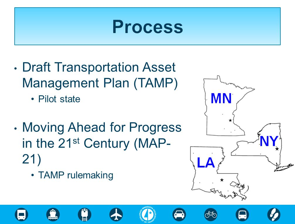 Draft Transportation Asset Management Plan (TAMP) Pilot state Moving Ahead for Progress in the 21 st Century (MAP- 21) TAMP rulemaking