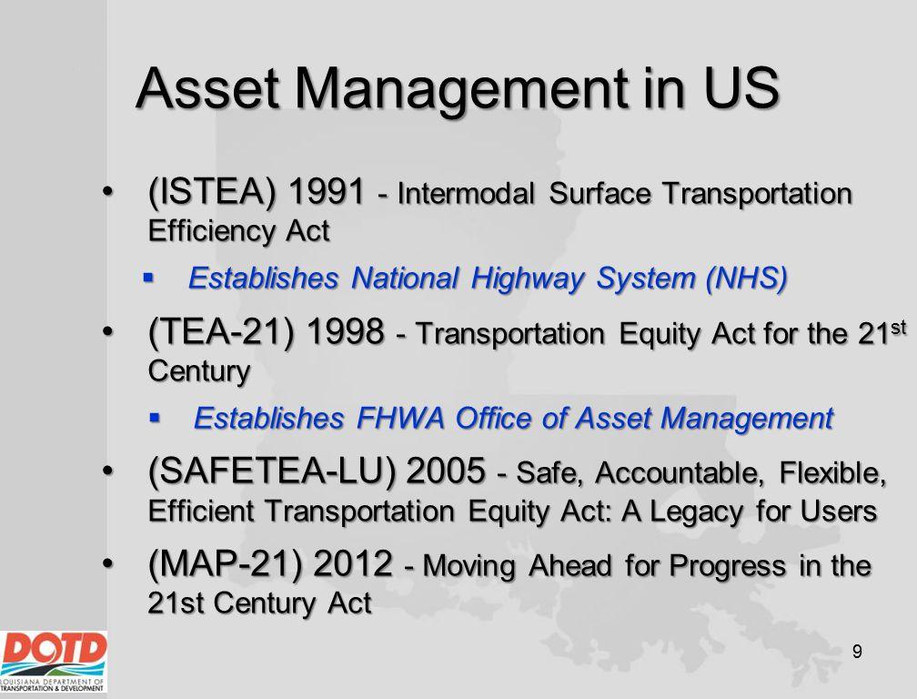 Asset Management in US 9 (ISTEA) 1991 - Intermodal Surface Transportation Efficiency Act(ISTEA) 1991 - Intermodal Surface Transportation Efficiency Ac