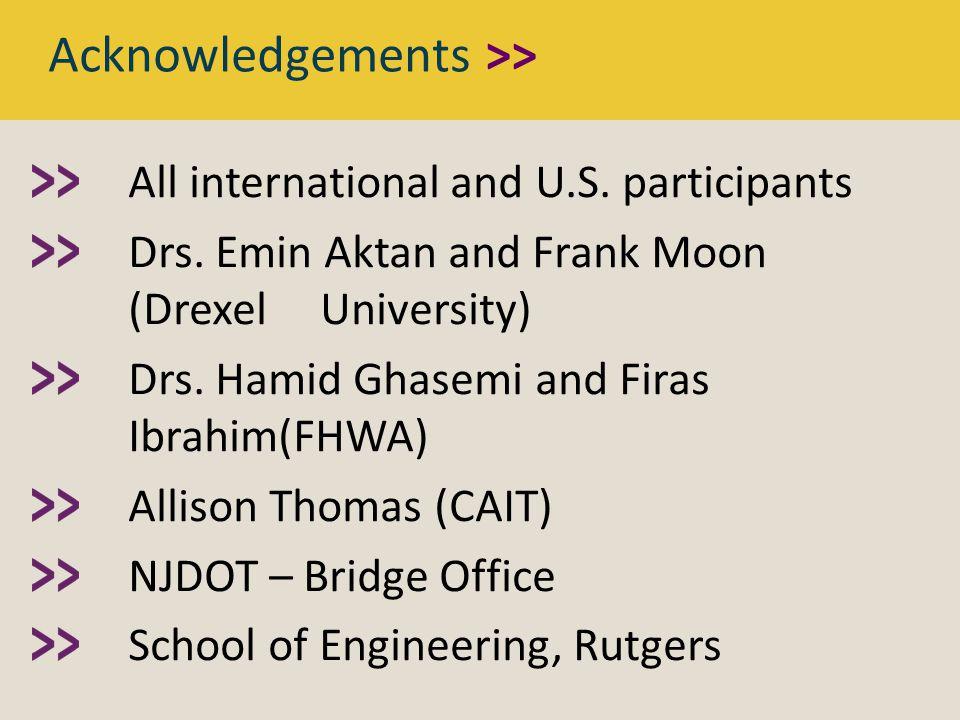 All international and U.S. participants Drs. Emin Aktan and Frank Moon (Drexel University) Drs.