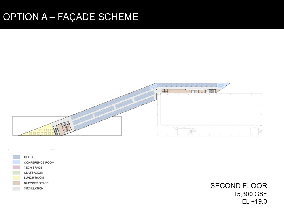 SECOND FLOOR 15,300 GSF EL +19.0 OPTION A – FAÇADE SCHEME