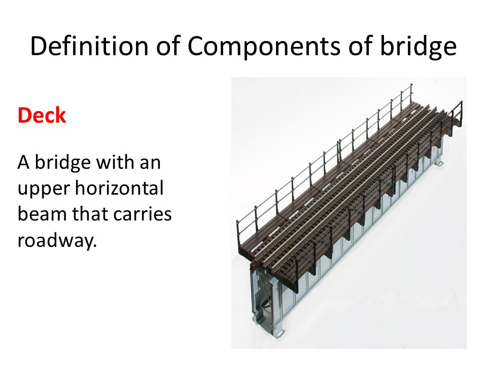 Definition of Components of bridge Deck A bridge with an upper horizontal beam that carries roadway.