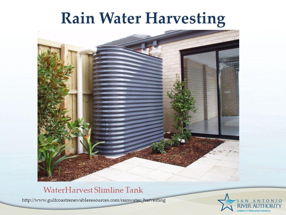 Rain Water Harvesting http://www.gulfcoastrenewableresources.com/rainwater_harvesting WaterHarvest Slimline Tank