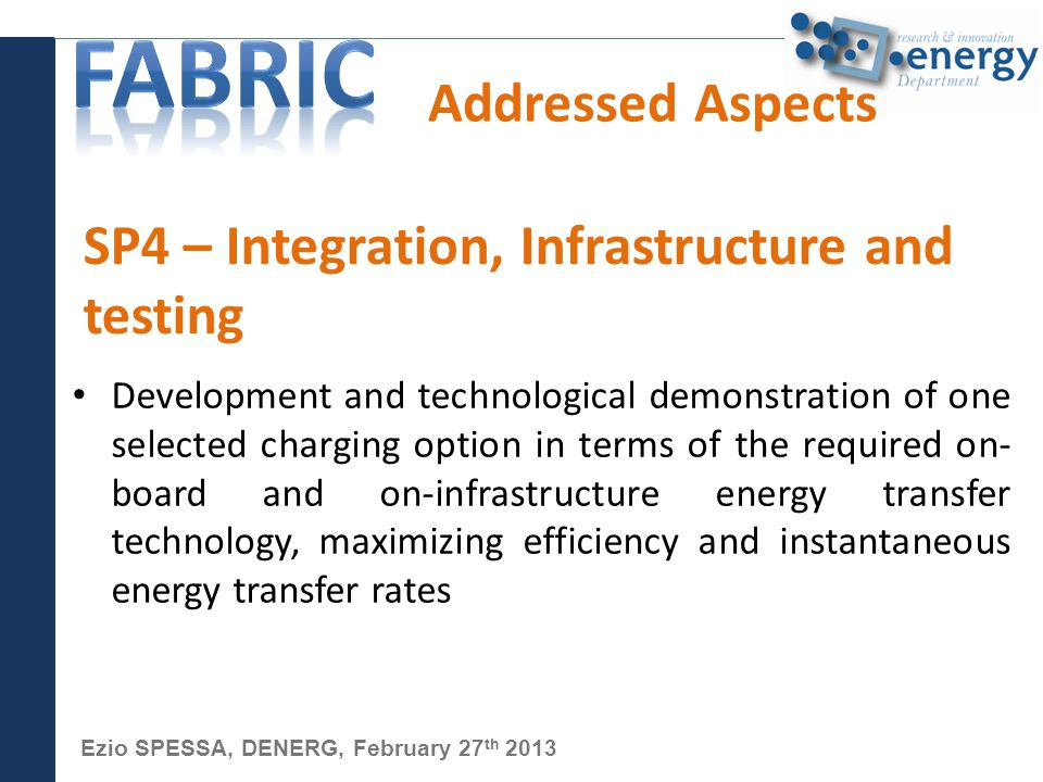 Ezio SPESSA, DENERG, February 27 th 2013 Addressed Aspects Development and technological demonstration of one selected charging option in terms of the required on- board and on-infrastructure energy transfer technology, maximizing efficiency and instantaneous energy transfer rates SP4 – Integration, Infrastructure and testing