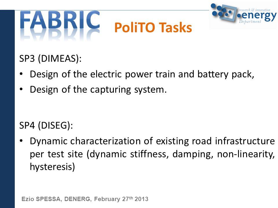 Ezio SPESSA, DENERG, February 27 th 2013 PoliTO Tasks SP3 (DIMEAS): Design of the electric power train and battery pack, Design of the capturing system.