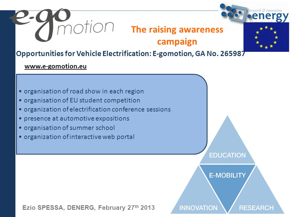 Ezio SPESSA, DENERG, February 27 th 2013 The raising awareness campaign Job Opportunities for Vehicle Electrification: E-gomotion, GA No.