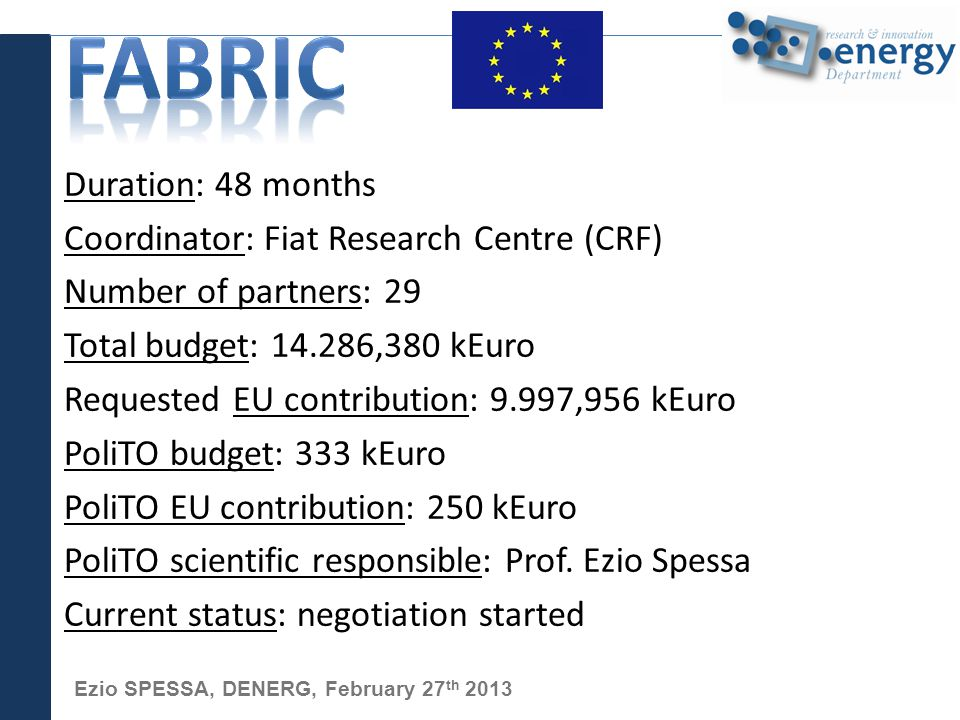 Ezio SPESSA, DENERG, February 27 th 2013 Duration: 48 months Coordinator: Fiat Research Centre (CRF) Number of partners: 29 Total budget: 14.286,380 kEuro Requested EU contribution: 9.997,956 kEuro PoliTO budget: 333 kEuro PoliTO EU contribution: 250 kEuro PoliTO scientific responsible: Prof.