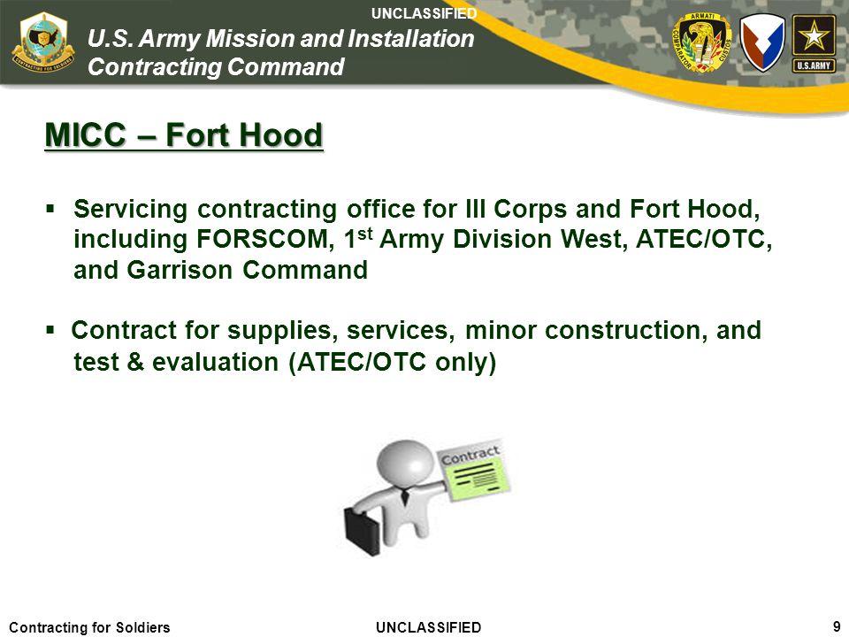 Agile – Proficient – Trusted UNCLASSIFIED Contracting for Soldiers UNCLASSIFIED UNCLASSIFIED 10 U.S.