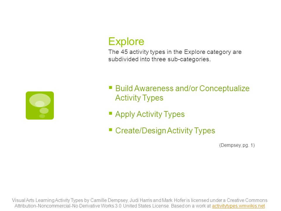 Explore The 45 activity types in the Explore category are subdivided into three sub-categories.  Build Awareness and/or Conceptualize Activity Types
