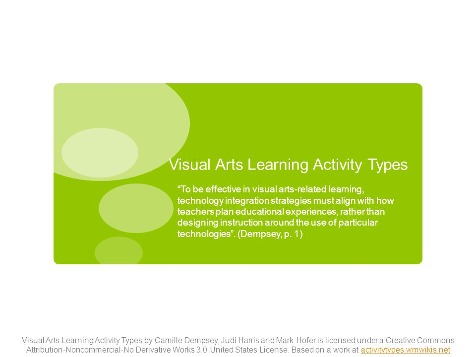 """Visual Arts Learning Activity Types """"To be effective in visual arts-related learning, technology integration strategies must align with how teachers p"""