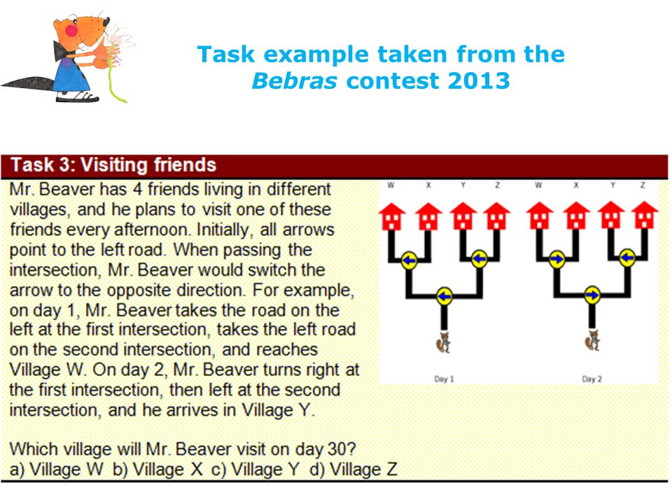 Task example taken from the Bebras contest 2013
