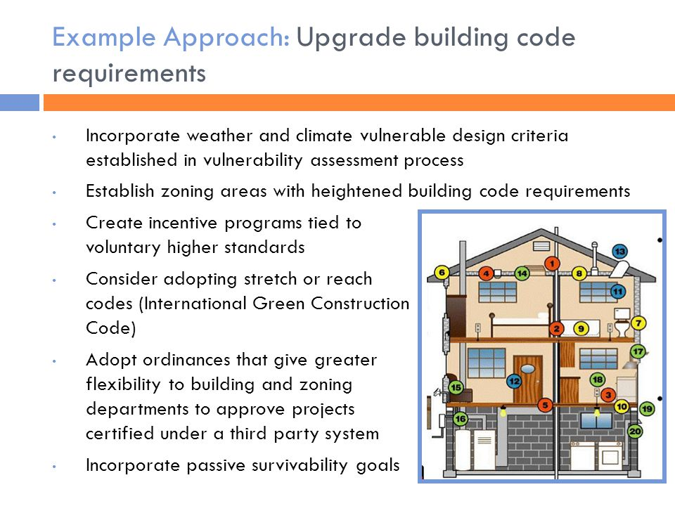 Example Approach: Upgrade building code requirements Incorporate weather and climate vulnerable design criteria established in vulnerability assessment process Establish zoning areas with heightened building code requirements Create incentive programs tied to voluntary higher standards Consider adopting stretch or reach codes (International Green Construction Code) Adopt ordinances that give greater flexibility to building and zoning departments to approve projects certified under a third party system Incorporate passive survivability goals