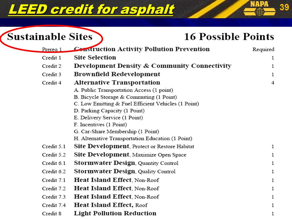 39 LEED credit for asphalt