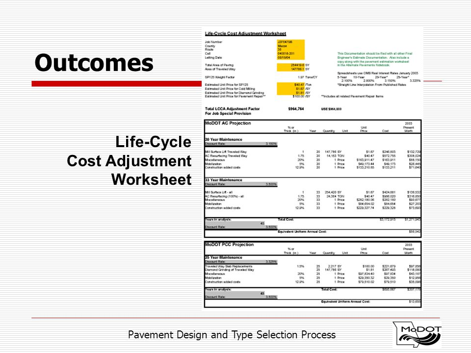 Pavement Design and Type Selection Process Outcomes Life-Cycle Cost Adjustment Worksheet