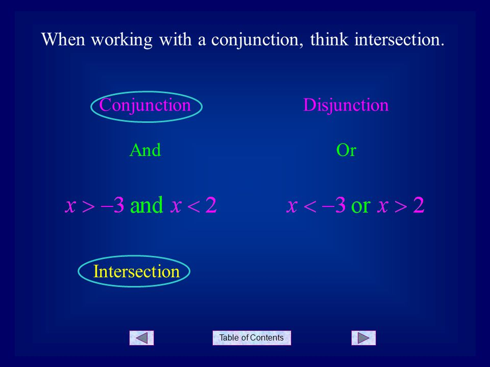 Table of Contents When working with a disjunction, think union.