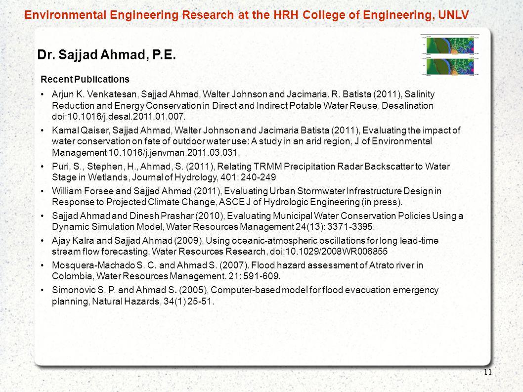 Dr.Sajjad Ahmad, P.E. Recent Publications Arjun K.