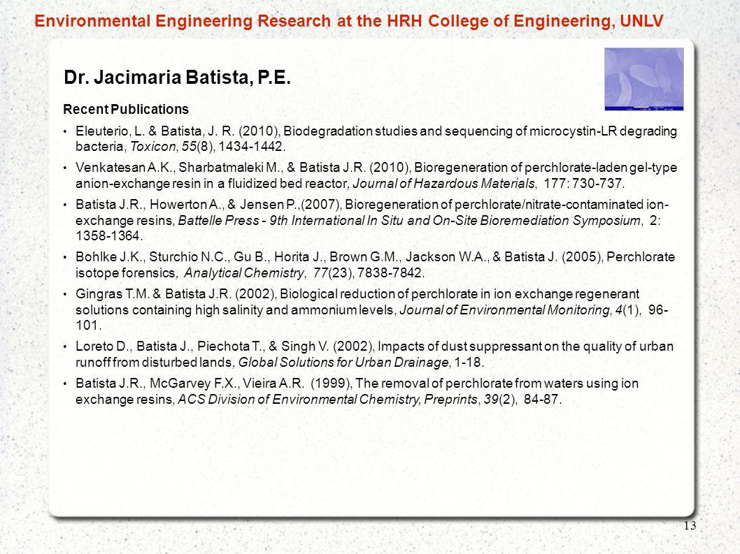 Dr.Jacimaria Batista, P.E. Recent Publications Eleuterio, L.