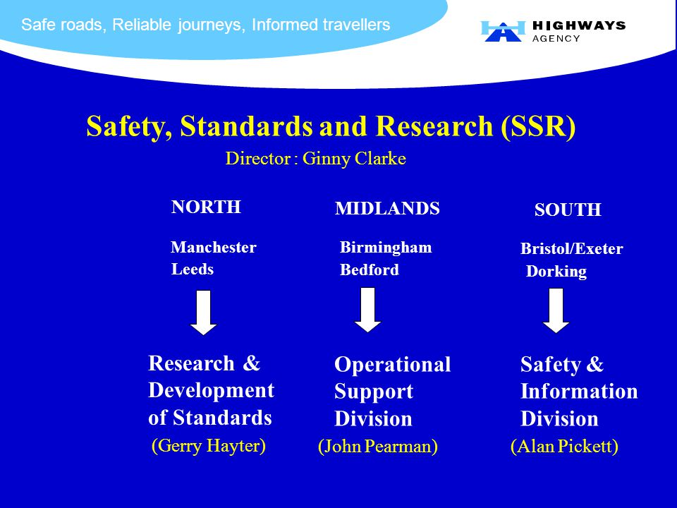 Safe roads, Reliable journeys, Informed travellers Safety, Standards and Research (SSR) Director : Ginny Clarke NORTH Manchester Leeds MIDLANDS Birmingham Bedford SOUTH Bristol/Exeter Dorking Research & Development of Standards (Gerry Hayter) Operational Support Division (John Pearman) Safety & Information Division (Alan Pickett)
