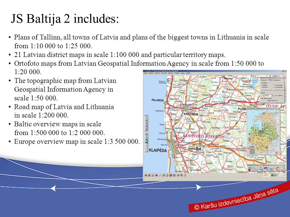 Plans of Tallinn, all towns of Latvia and plans of the biggest towns in Lithuania in scale from 1:10 000 to 1:25 000.