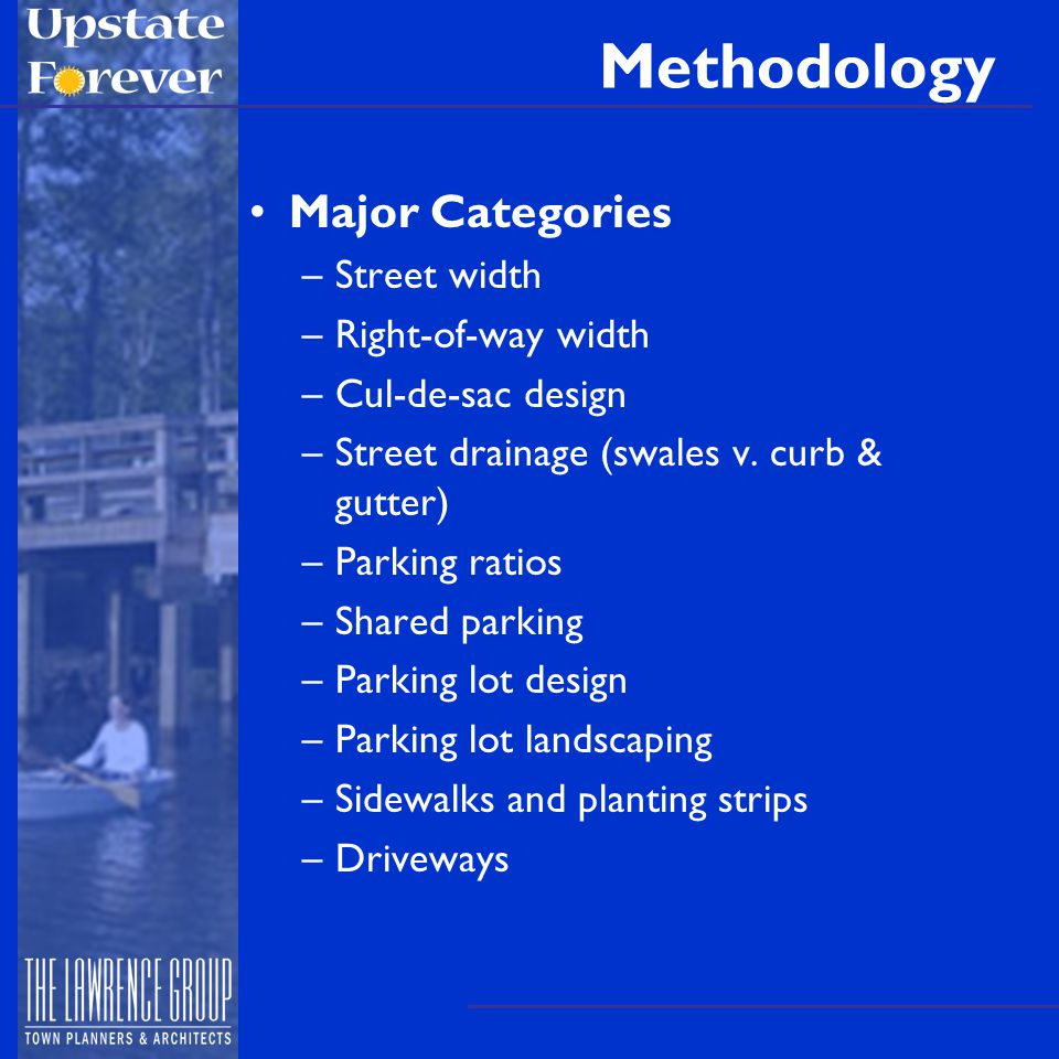 Methodology Major Categories –Street width –Right-of-way width –Cul-de-sac design –Street drainage (swales v.