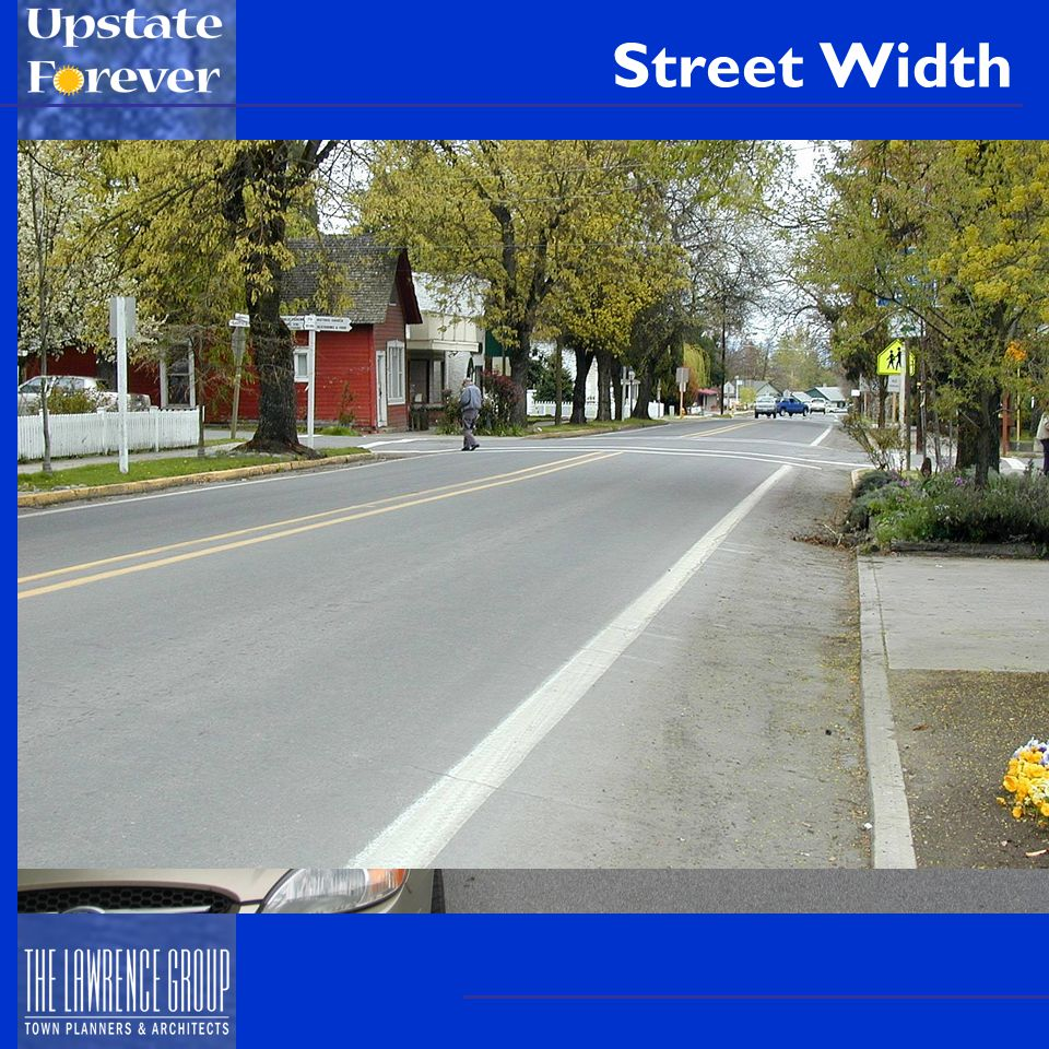 Street Width Local Streets: 20-24 ft Cul-de-Sac streets: 22-28 ft Manufactured home park streets: 20-28 ft Alleys: 12-30 ft (Greenville County standard is perfect) Collector Streets: 24-40 ft –Could be as narrow as 20 ft –Consider parking, bike lanes, turn lanes