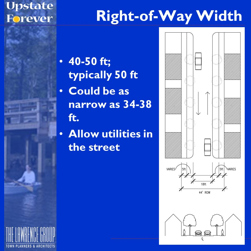 Right-of-Way Width 40-50 ft; typically 50 ft Could be as narrow as 34-38 ft.