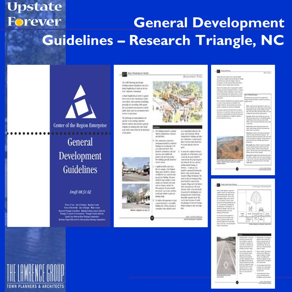 Parking Ratios Recommendations to consider: Use draft Greenville LUDO model –Low minimums (2/1000 sf for retail) –Maximums (use current minimums) Allow on-street parking to count Waive/reduce parking req'mts in all CBD's and other mixed- use nodes Reduced minimums for transit service