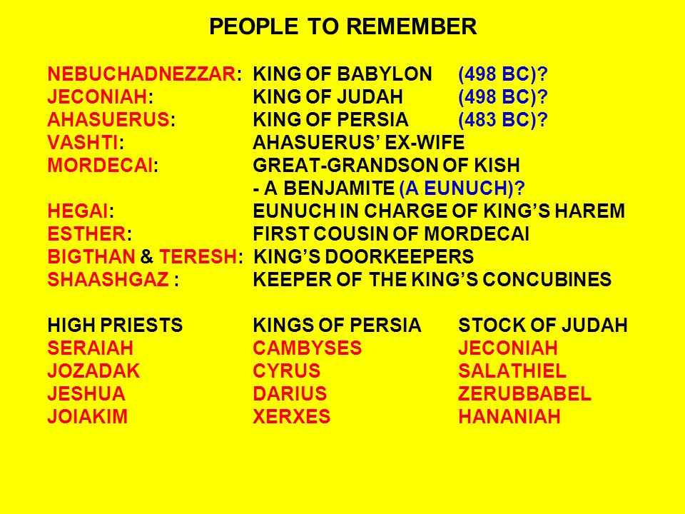 QUESTIONS:ESTHER 1:5-8 5And when these days were completed, the king made a feast lasting seven days for all the people who were present in Shushan the citadel, from great to small, in the court of the garden of the king s palace.