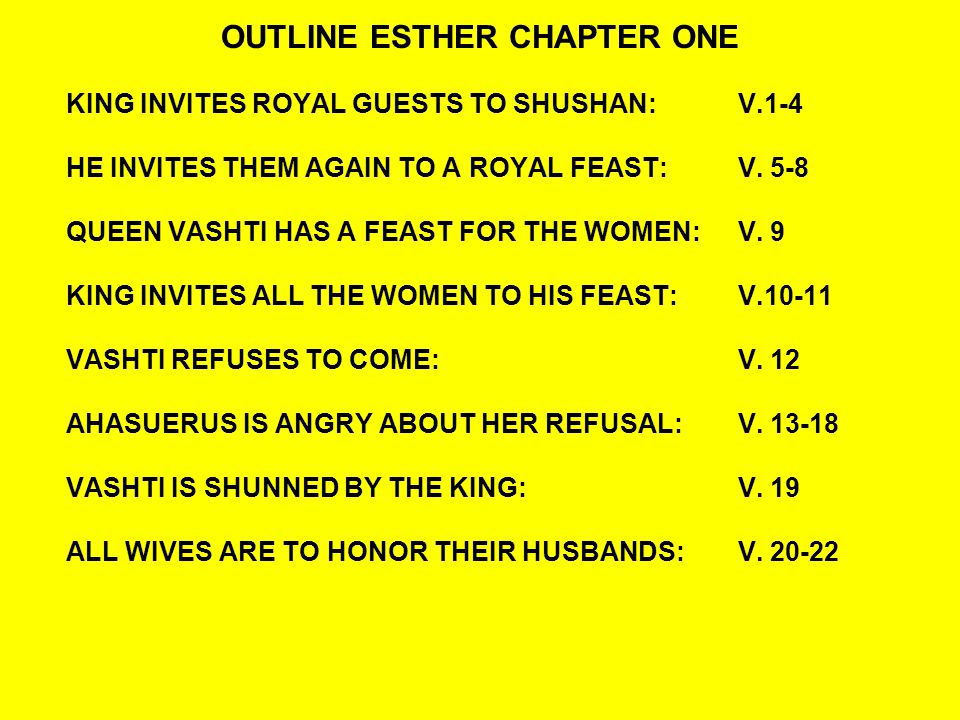 OUTLINE ESTHER CHAPTER ONE KING INVITES ROYAL GUESTS TO SHUSHAN:V.1-4 HE INVITES THEM AGAIN TO A ROYAL FEAST: V.