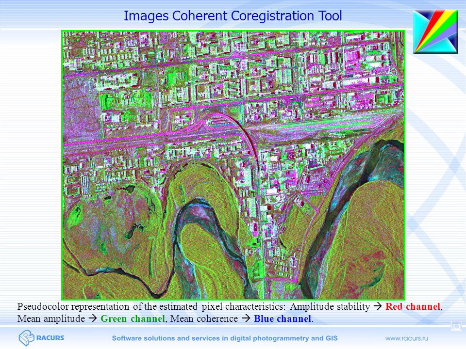 Images Coherent Coregistration Tool Pseudocolor representation of the estimated pixel characteristics: Amplitude stability  Red channel, Mean amplitude  Green channel, Mean coherence  Blue channel.