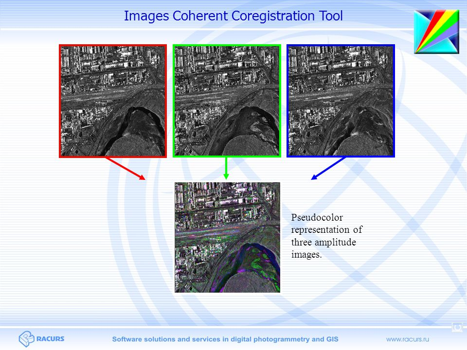 Pseudocolor representation of three amplitude images. Images Coherent Coregistration Tool