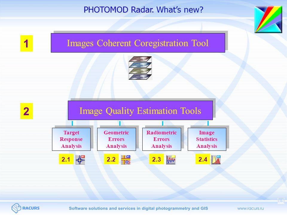 PHOTOMOD Radar. PHOTOMOD Radar. What's new? Images Coherent Coregistration Tool 1 2 Image Quality Estimation Tools Target Response Analysis Target Res