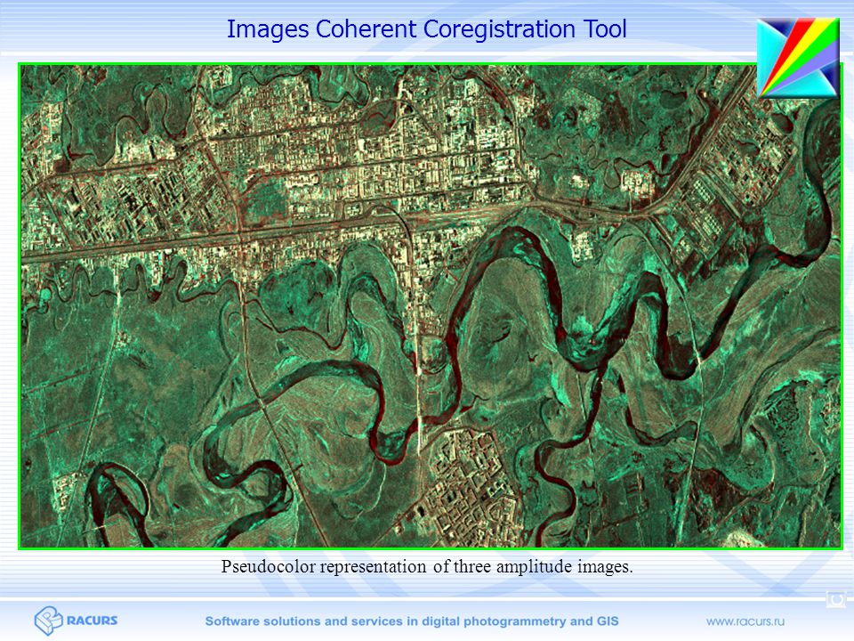 Images Coherent Coregistration Tool Pseudocolor representation of three amplitude images.
