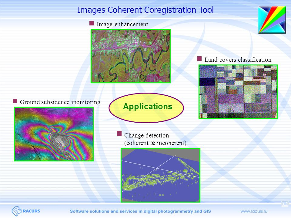 Applications Land covers classification Change detection (coherent & incoherent) Image enhancement Ground subsidence monitoring