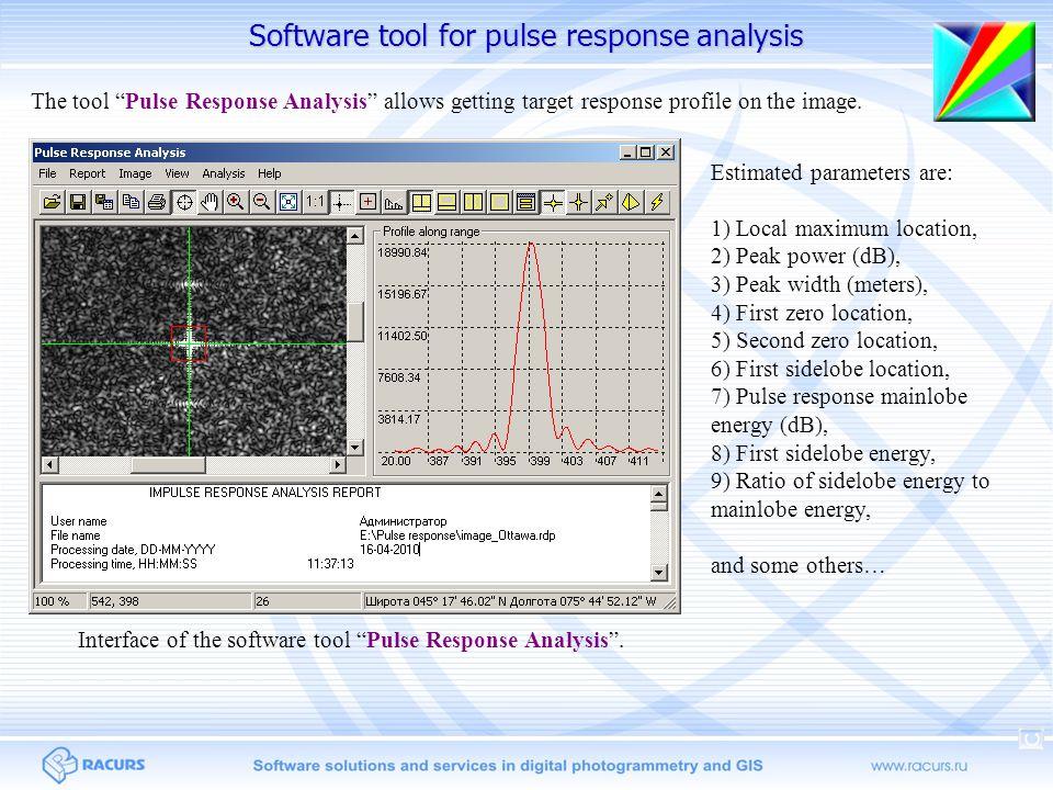 "Software tool for pulse response analysis Interface of the software tool ""Pulse Response Analysis"". Estimated parameters are: 1) Local maximum locatio"