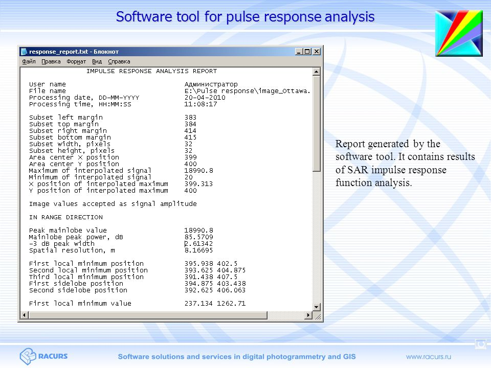 Report generated by the software tool. It contains results of SAR impulse response function analysis. Software tool for pulse response analysis